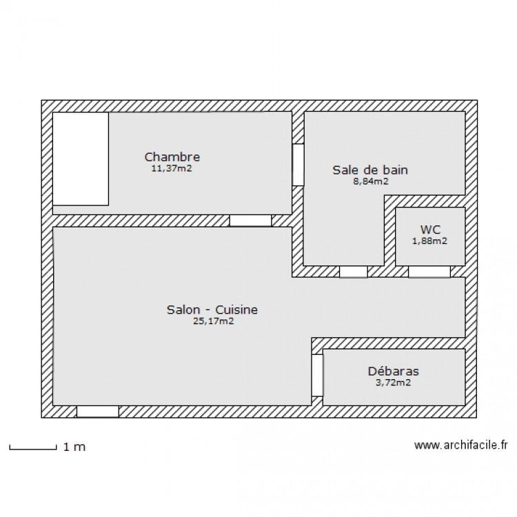 50m2 plan 5 pi ces 51 m2 dessin par remi57 - Plan maison 50m2 2 chambres ...