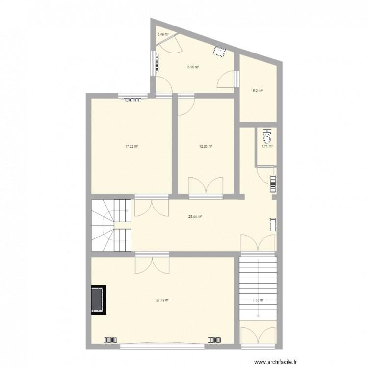 rez de chauss plan 9 pi ces 106 m2 dessin par kahex. Black Bedroom Furniture Sets. Home Design Ideas