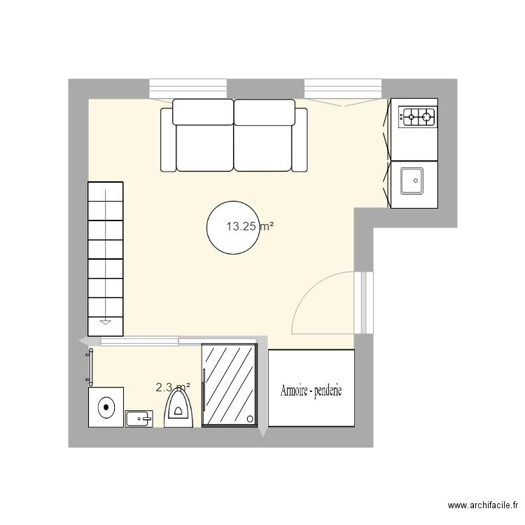 Studio avec mezzanine - Plan 2 pièces 16 m2 dessiné par Nonoskf