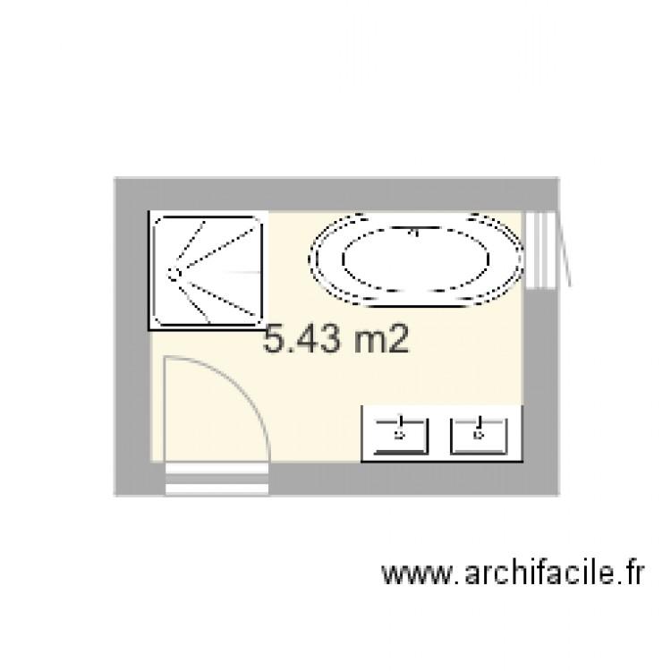 petite salle de bains avec douche et baignoire ilot plan 1 pi ce 5 m2 dessin par athom. Black Bedroom Furniture Sets. Home Design Ideas