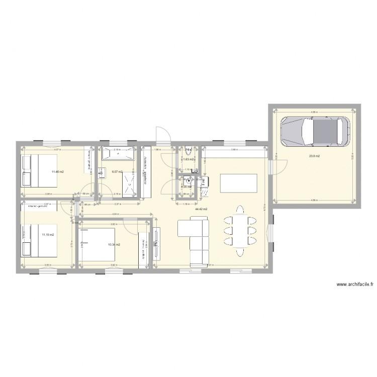 Plan Maison Plain Pied  Plan  Pices  M Dessin Par Crole