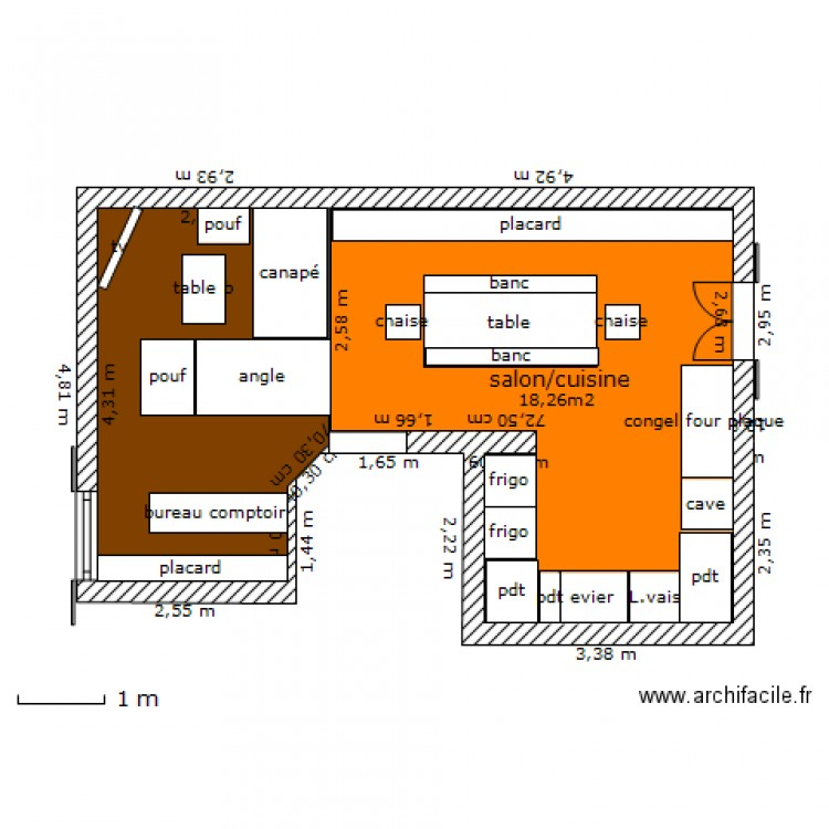 Cuisine salle manger salon plan 2 pi ces 29 m2 dessin for Salon salle a manger 70 m2