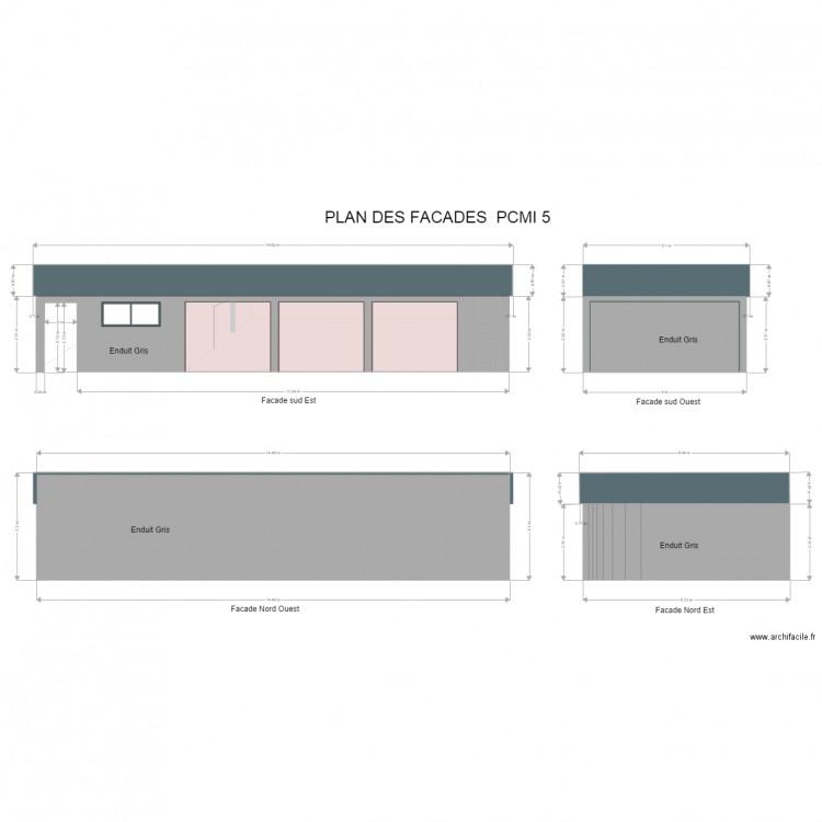 Plan de facades pcmi 5 plan 10 pi ces 128 m2 dessin par for Plan des facades
