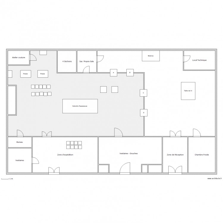 Blanchisserie plan 14 pi ces 499 m2 dessin par gilchemi for Plan de maison zone llc