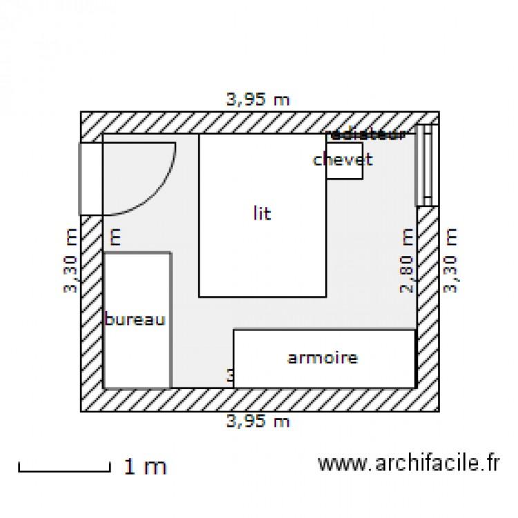 Chambre plan 1 pi ce 10 m2 dessin par chrisjensen for Chambre 6m2 plan