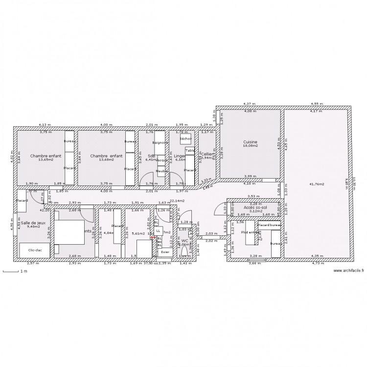 Long re 3 chambres salle de jeux lingerie buanderie cellier et coin burea - Plan buanderie cellier ...