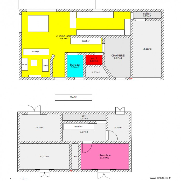 3essai maison avec etage plan 14 pi ces 130 m2 dessin par brahms. Black Bedroom Furniture Sets. Home Design Ideas