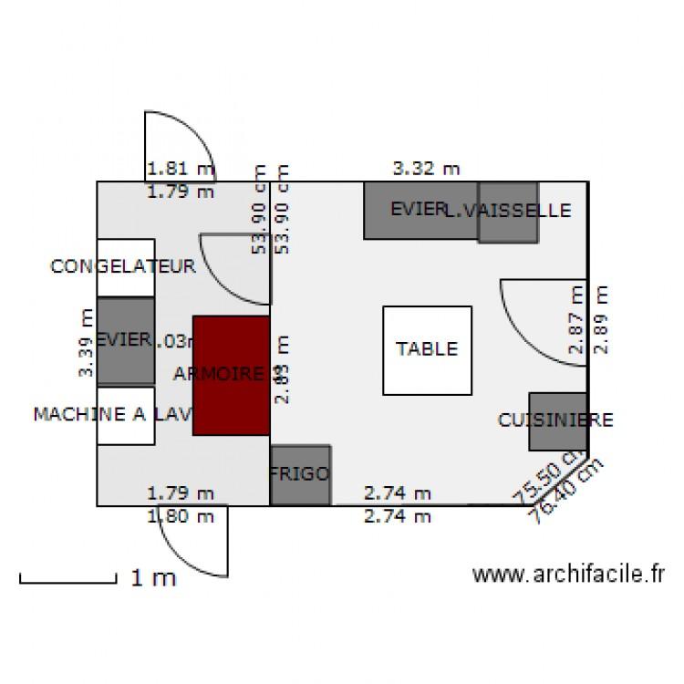 Cuisine et buanderie plan 2 pi ces 17 m2 dessin par pmar for Taille moyenne cuisine