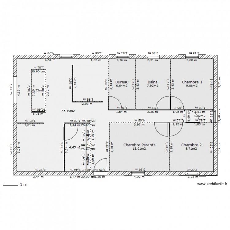 Maison sans garage 5 plan 11 pi ces 101 m2 dessin par for Plan de maison 5 pieces