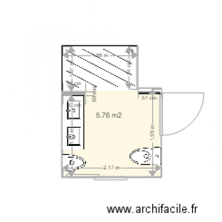 salle de bain plan 1 pi ce 6 m2 dessin par mado34. Black Bedroom Furniture Sets. Home Design Ideas
