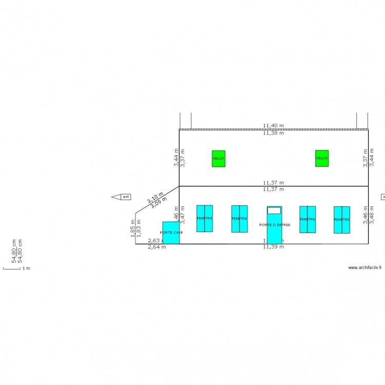 dp4 facade et toiture avec velux plan dessin par beaucousin. Black Bedroom Furniture Sets. Home Design Ideas