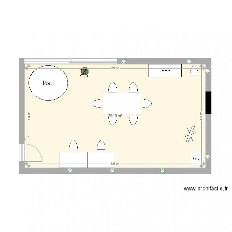 Bureau plan 1 pi ce 39 m2 dessin par ggrob for Nombre de m2 par personne bureau