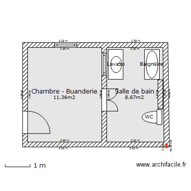 salle de bain buanderie plan 2 pi ces 20 m2 dessin par dorado27. Black Bedroom Furniture Sets. Home Design Ideas
