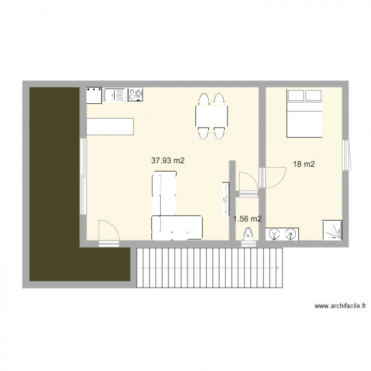 Top studio m plan de pices et m with plan maison 60m2 for Plan maison 60m2