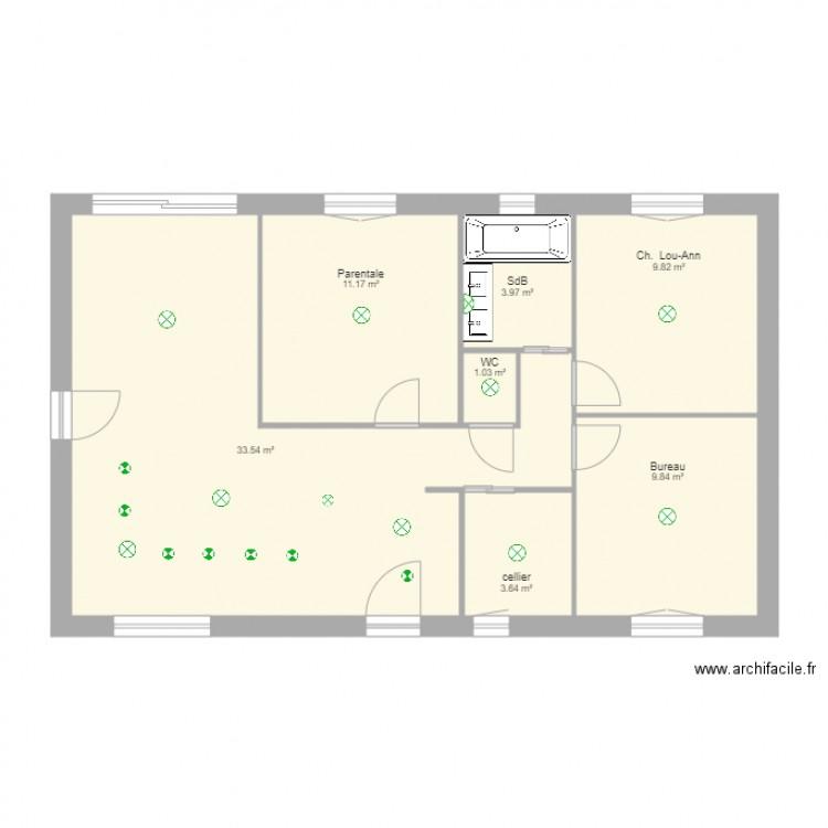 Maison plan 7 pi ces 73 m2 dessin par lou ann31 for Taille moyenne maison