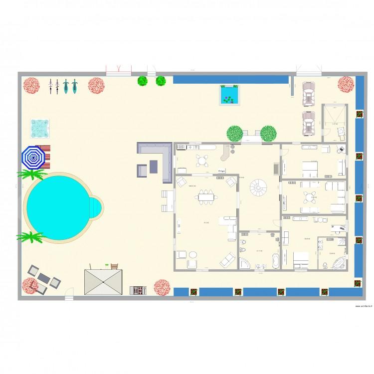 maison de reve 2 plan 9 pi ces 1363 m2 dessin par benhadid nassim. Black Bedroom Furniture Sets. Home Design Ideas