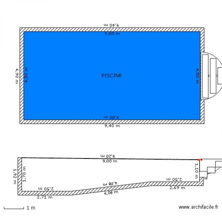 Plan et coupe piscine echelle 1 100 plan 1 pi ce 41 m2 for Plan piscine