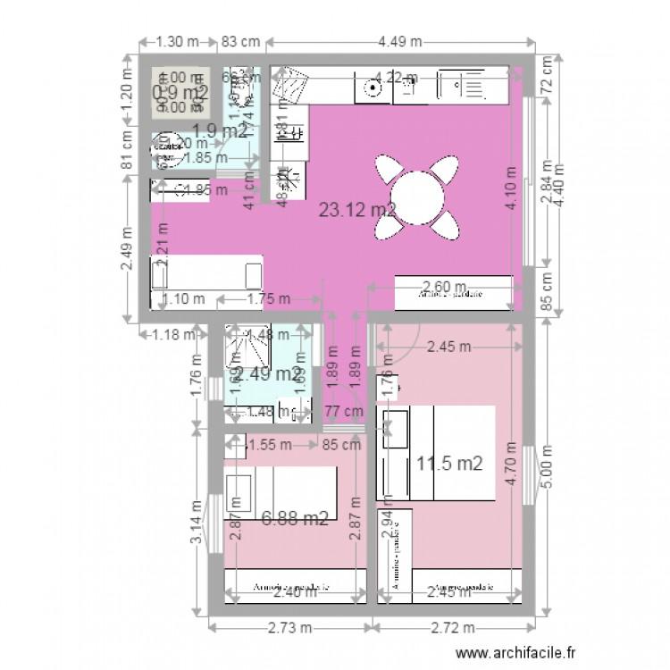 F3 50m2 Plan 6 Pieces 47 M2 Dessine Par Christine34150