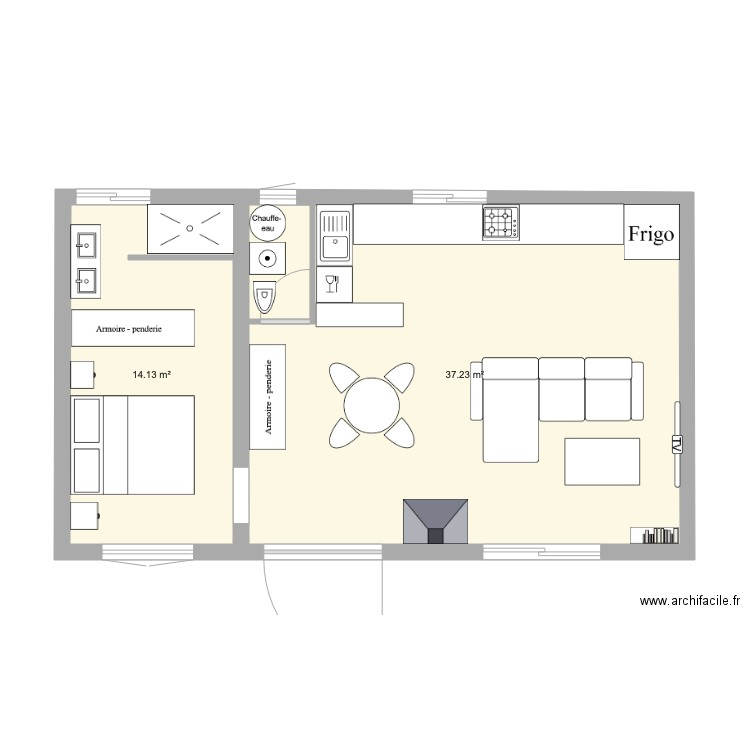 Maison Bois Plan 2 Pieces 51 M2 Dessine Par Vanou33