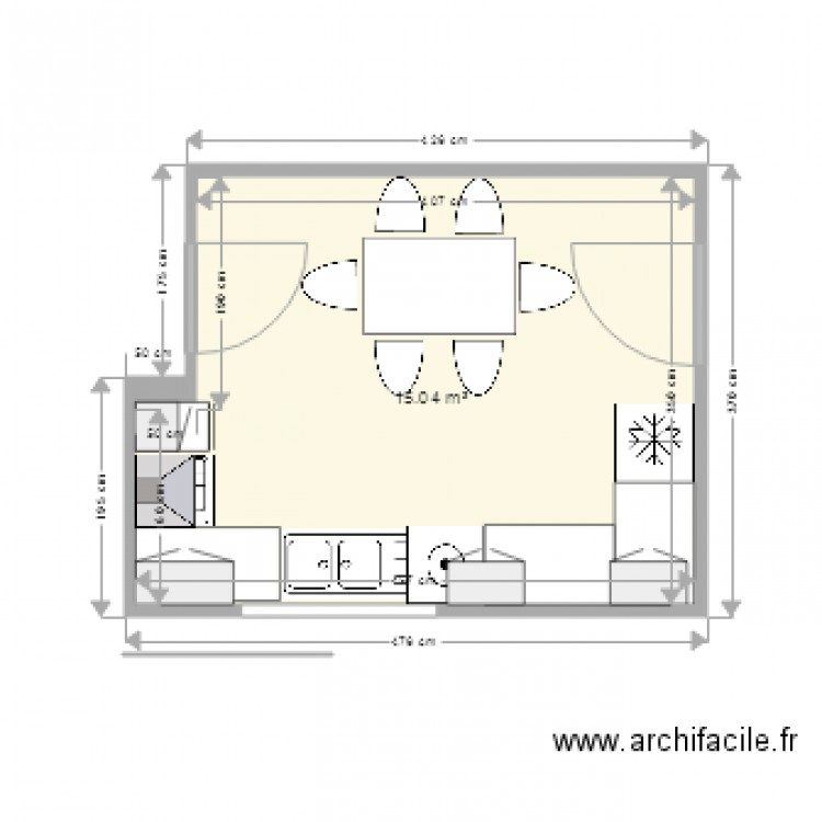 Cuisine plan 1 pi ce 15 m2 dessin par kharrat boulbaba for Meuble kharrat
