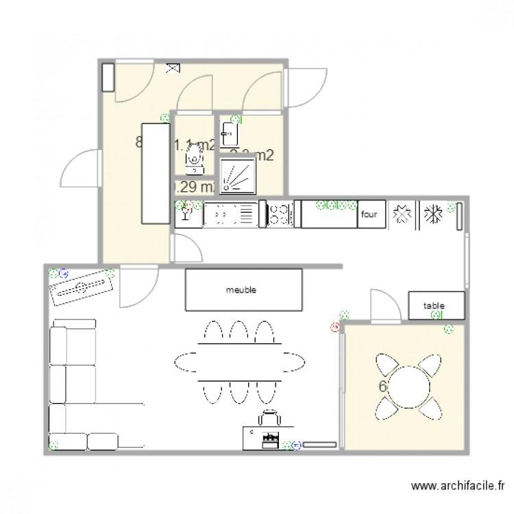 Appartement taille r elle avant modification piece a vivre for Plan piece a vivre 40m2