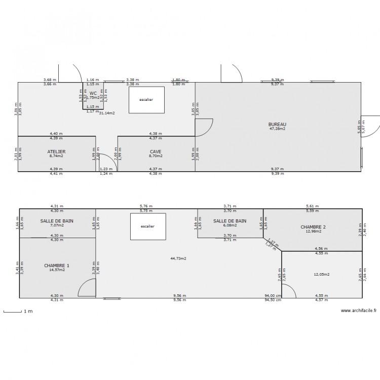 rdc et etage longere plan 11 pi ces 195 m2 dessin par hfauqueux. Black Bedroom Furniture Sets. Home Design Ideas