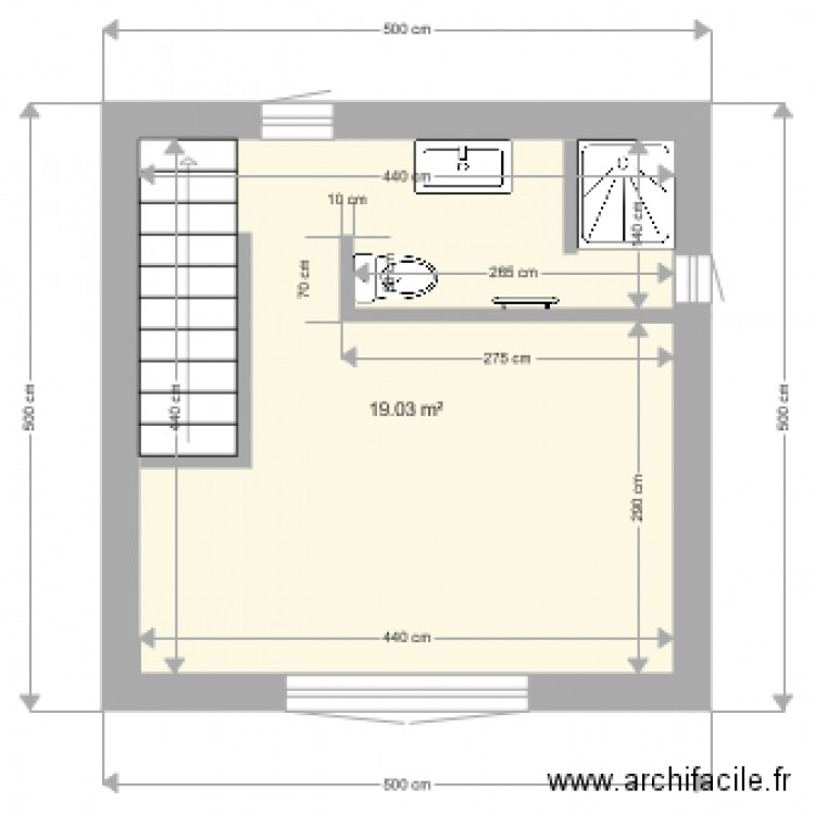 agrandissement maison plan 1 pi ce 19 m2 dessin par seb8313. Black Bedroom Furniture Sets. Home Design Ideas