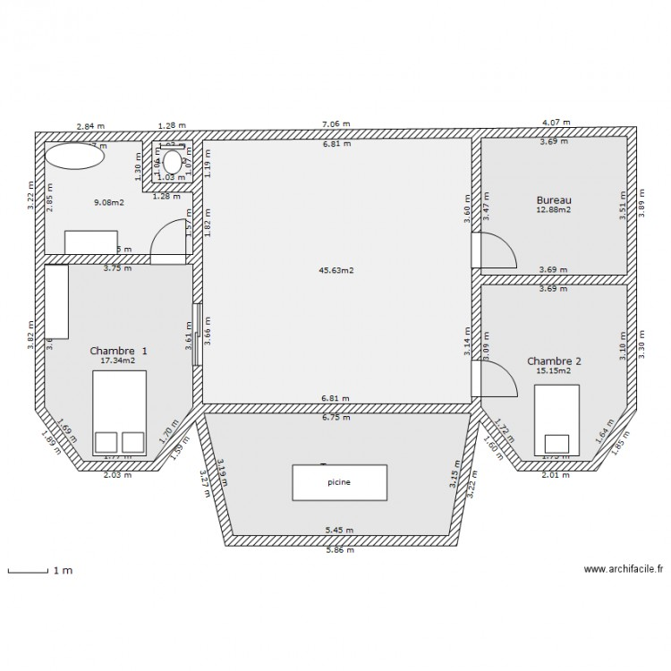 2eme etage de une maison plan 7 pi ces 120 m2 dessin for Plan de maison 120m2