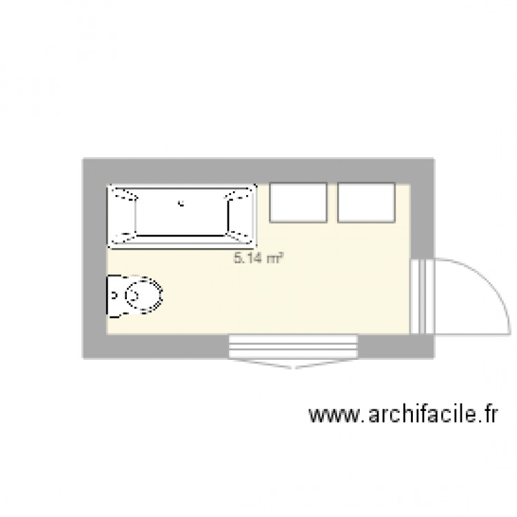 salle de bain plan 1 pi ce 5 m2 dessin par laurent34070. Black Bedroom Furniture Sets. Home Design Ideas