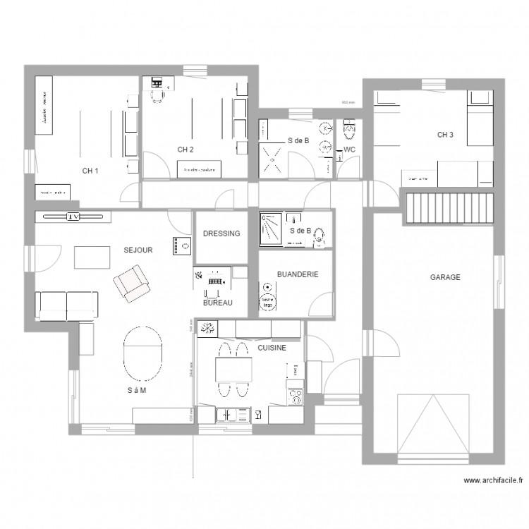 Valcroze 6 meubl plan 8 pi ces 128 m2 dessin par for Construire meuble