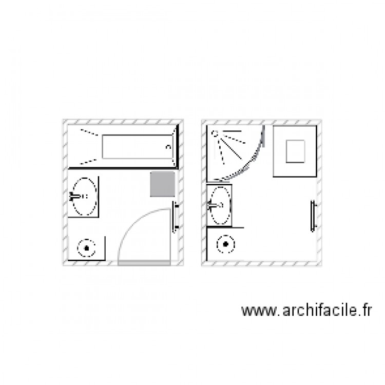 salle de bain plan 2 pi ces 7 m2 dessin par malykaurne. Black Bedroom Furniture Sets. Home Design Ideas