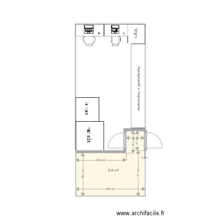 Futur bureau plan 1 pi ce 6 m2 dessin par merigan for Bureau petite taille