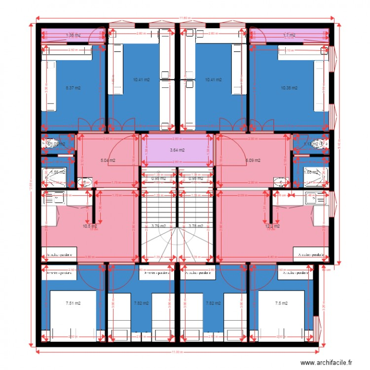 plan appartement de 60m2 2 plan 23 pi ces 126 m2 dessin par ech chahidi naceur. Black Bedroom Furniture Sets. Home Design Ideas