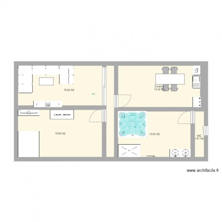 clairem arie maison plan 5 pi ces 60 m2 dessin par claire2b. Black Bedroom Furniture Sets. Home Design Ideas