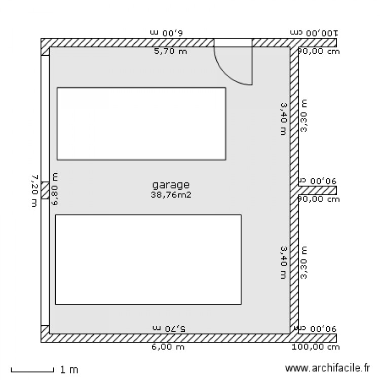 Garage double reserve bois plan 1 pi ce 39 m2 dessin for Plan de garage