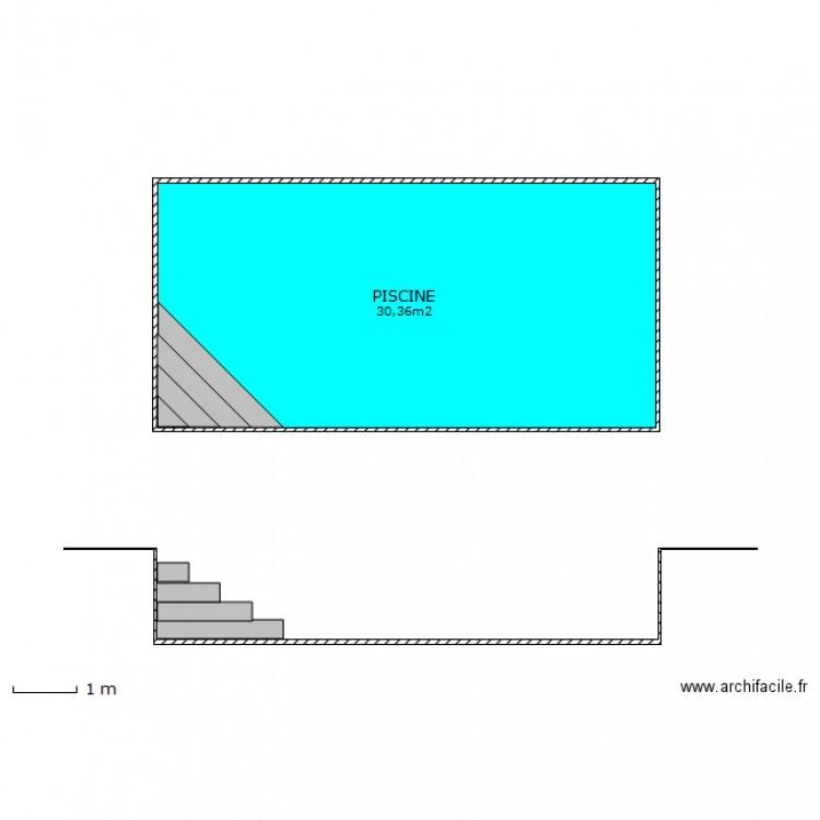 plan en coupe piscine plan 1 pi ce 30 m2 dessin par melarde. Black Bedroom Furniture Sets. Home Design Ideas