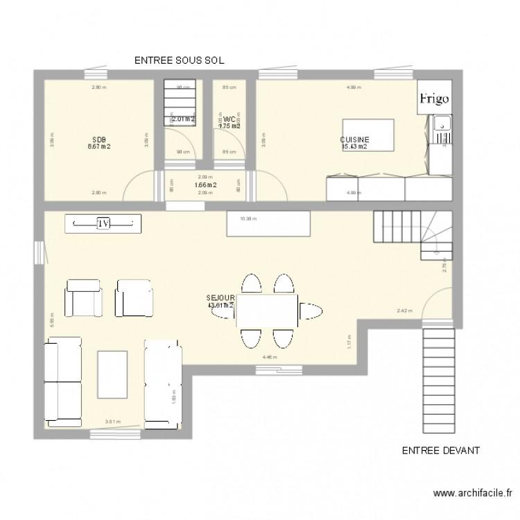 Plan Avec 1 Grande Sdb Et Salon De 43m2 Et Cuisine 15m2 Plan 6