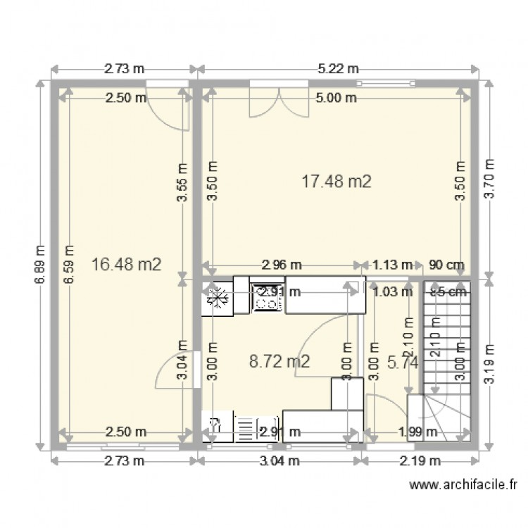 projet amenagement cuisine plan 4 pi ces 48 m2 dessin. Black Bedroom Furniture Sets. Home Design Ideas