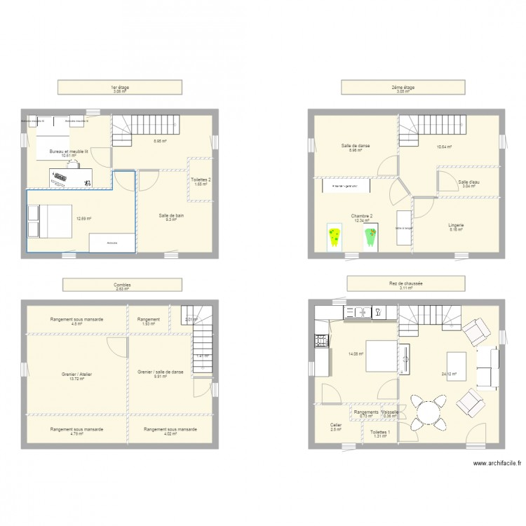 plan de maison 3 etages