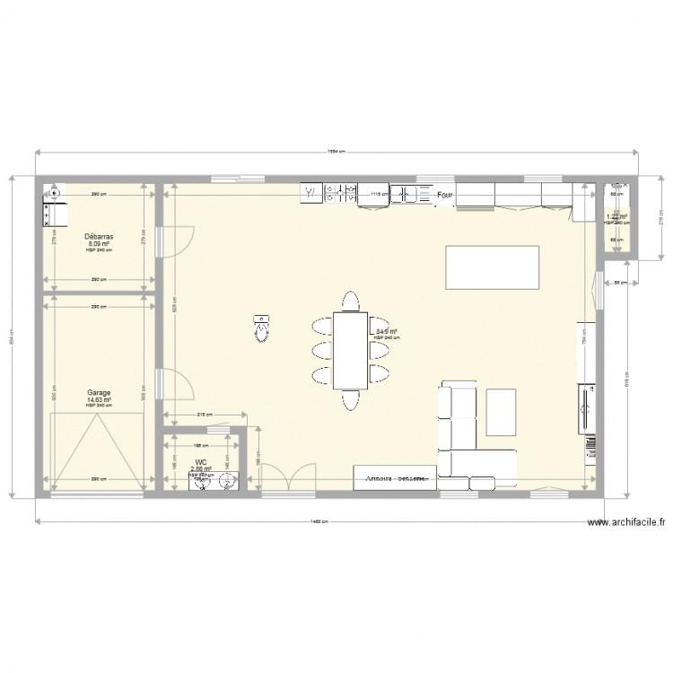 Maison campagne plan 5 pi ces 112 m2 dessin par bouchane34 for Garage plan de campagne