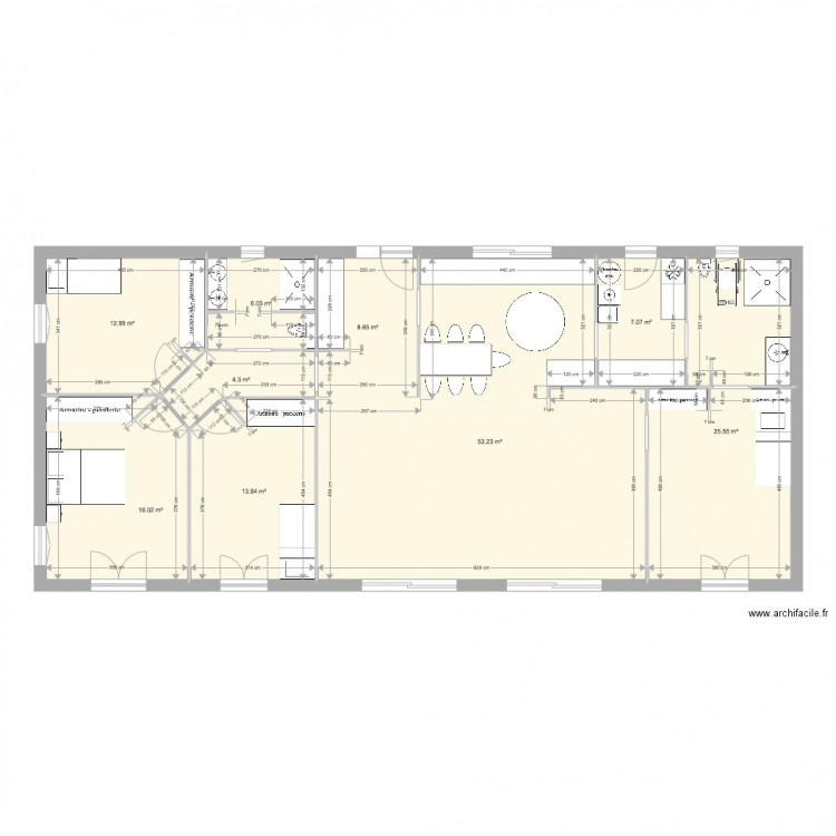 longue plan 9 pi ces 148 m2 dessin par vivien vacher. Black Bedroom Furniture Sets. Home Design Ideas