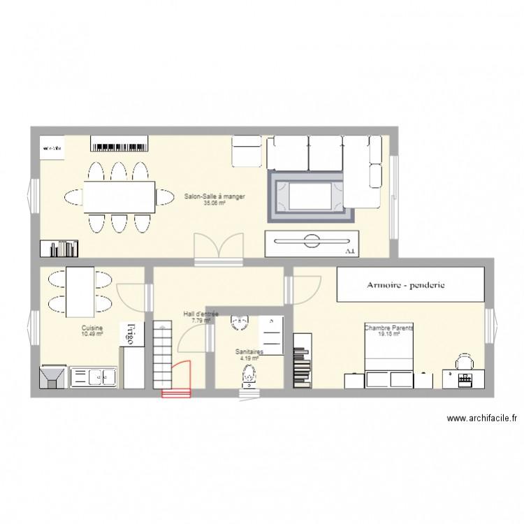 Plan de maison plan 5 pi ces 75 m2 dessin par cbernson for Plan de maison 5 pieces