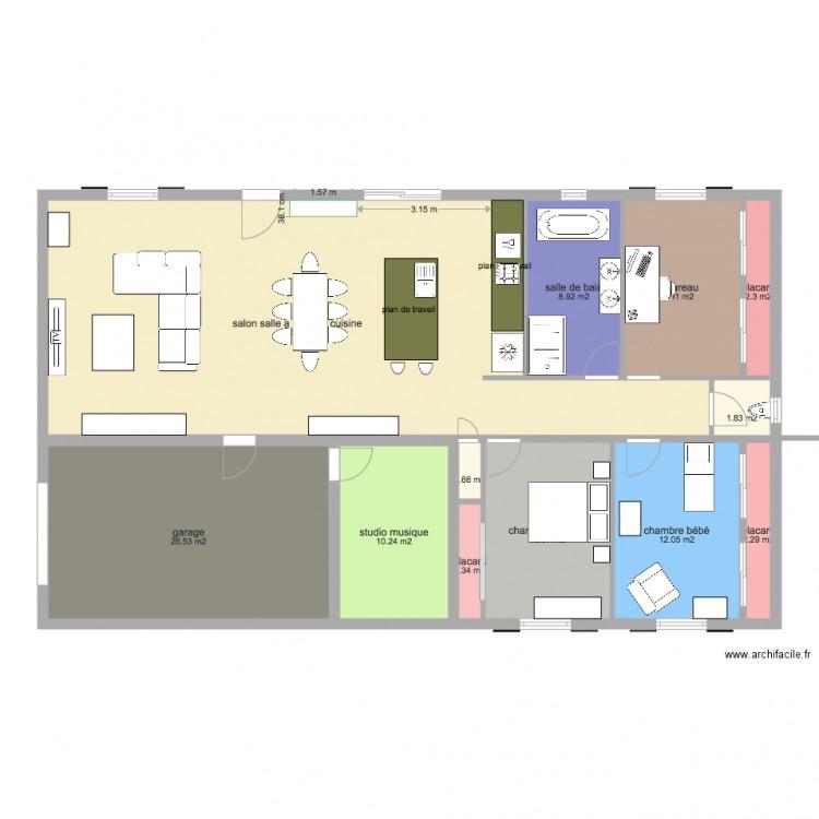 Maison entr e sud garage est plan 12 pi ces 155 m2 - Plan maison entree sud ...