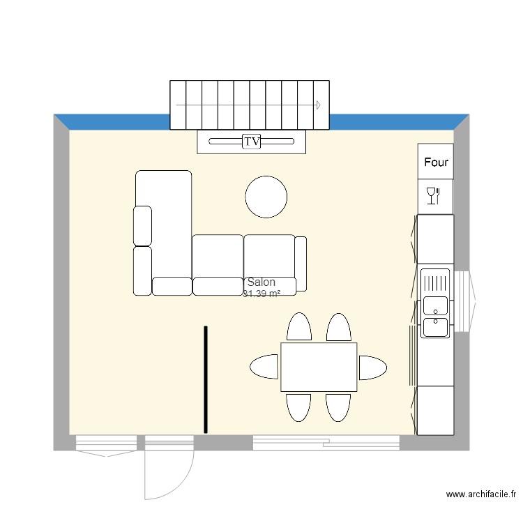 Salon et cuisine 30m2 plan 1 pi ce 31 m2 dessin par anita025 - Salon cuisine 30m2 ...