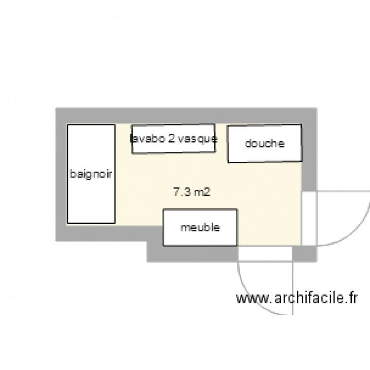 Salle de bain plan 1 pi ce 7 m2 dessin par bebert57 for Salle de bain 7 5 m2