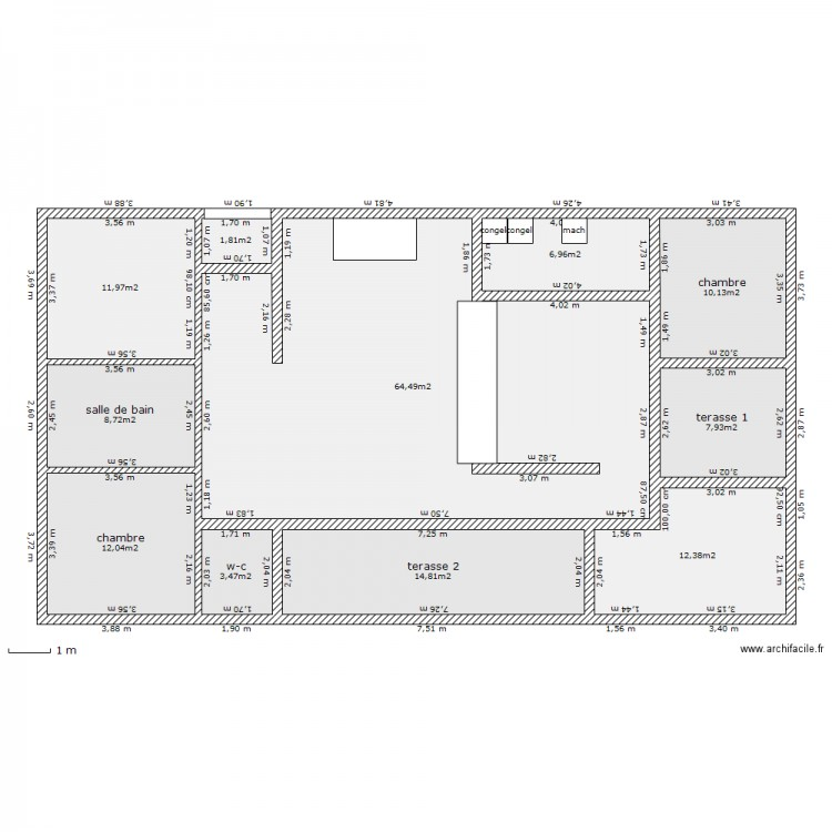 Maison Rectangle Plan 11 Pi Ces 155 M2 Dessin Par Cathy82