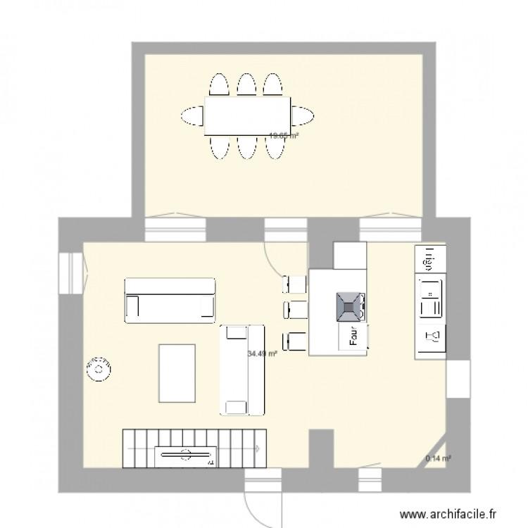Cuisine ouverte plan 3 pi ces 54 m2 dessin par benelin for Plan cuisine ouverte 11m2