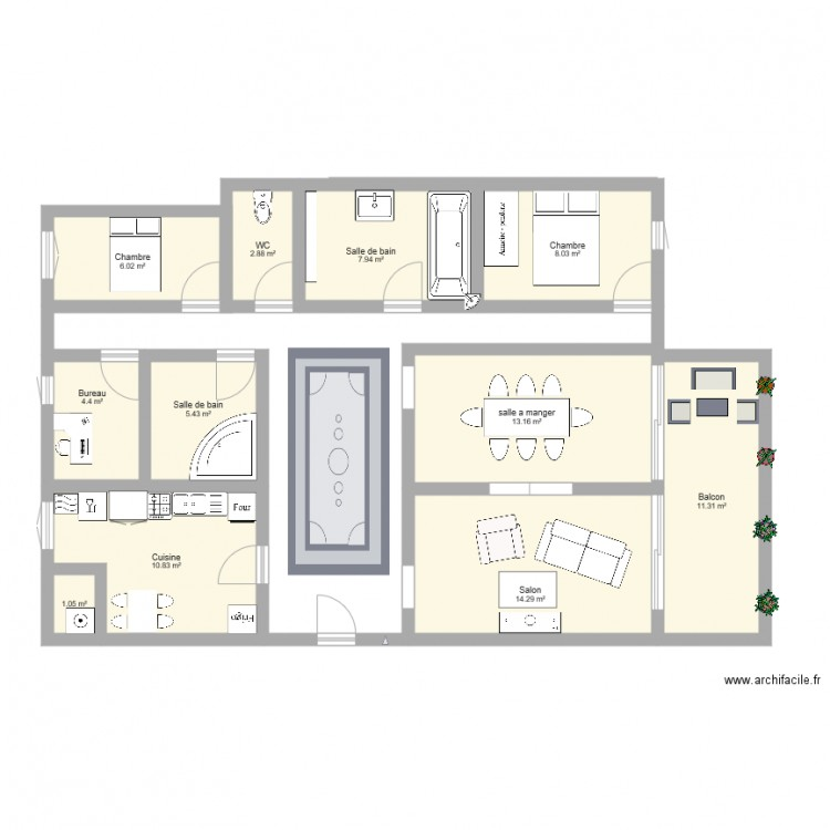 appartement plan 11 pi ces 85 m2 dessin par. Black Bedroom Furniture Sets. Home Design Ideas
