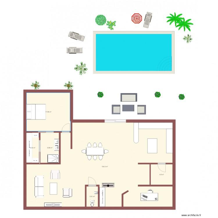Maison bois 1 tage plan 6 pi ces 140 m2 dessin par for Plan maison etage 140 m2