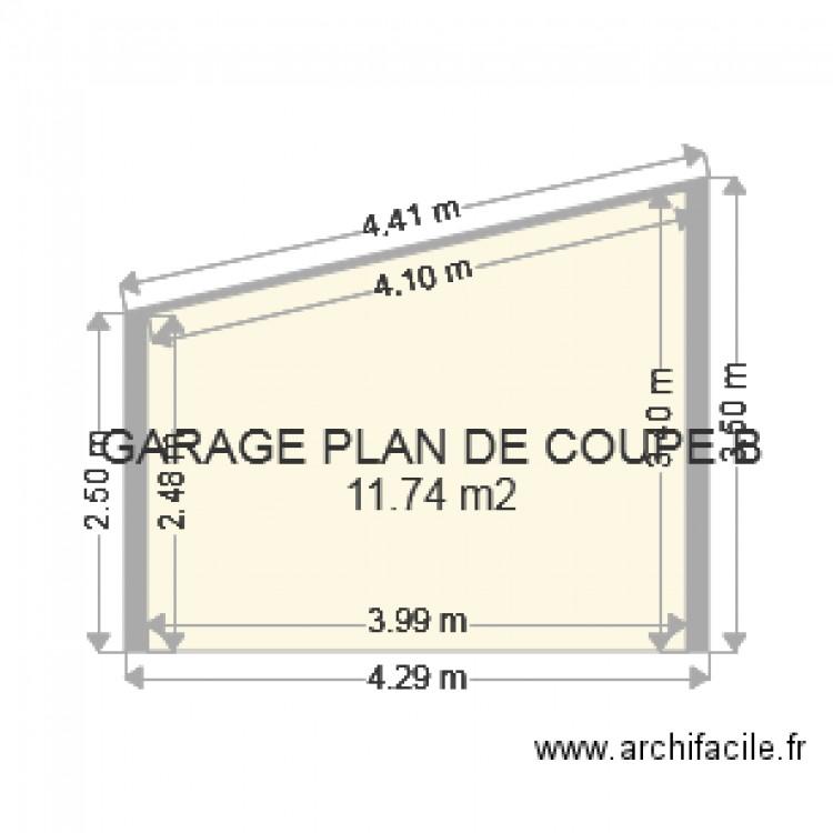 Plan coupe garage b plan 1 pi ce 12 m2 dessin par for Plan de coupe de maison